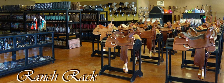 Rolling Boot Racks, Glass Display Cabinets, Hat Counters and Saddle Racks in beautiful rubbed-back black finish