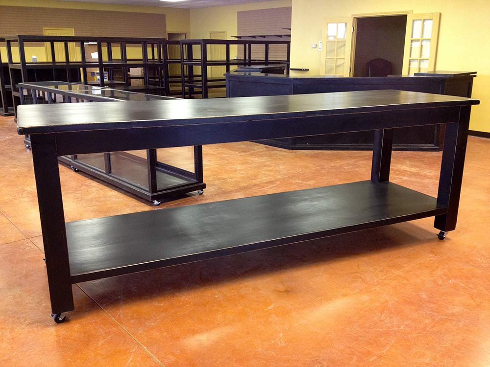 Rolling Ranch Rack Tables for Western Wear, Jeans and Shirts