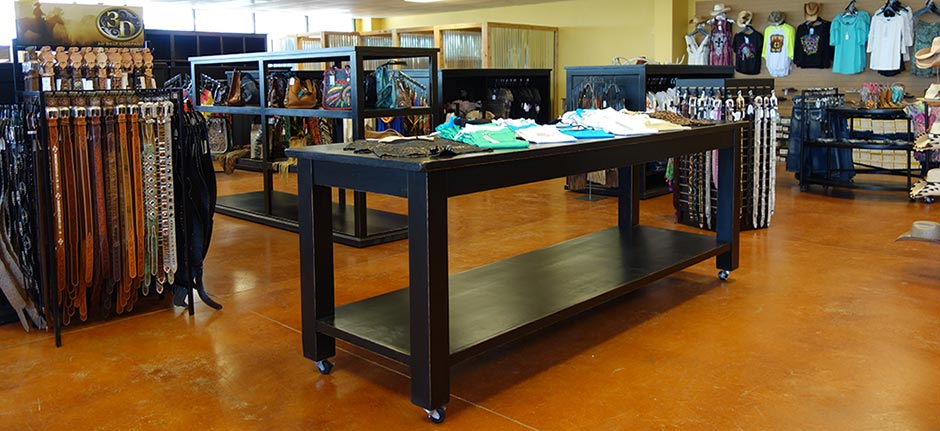 Ranch Rack Large Rolling Display Table for Western Wear