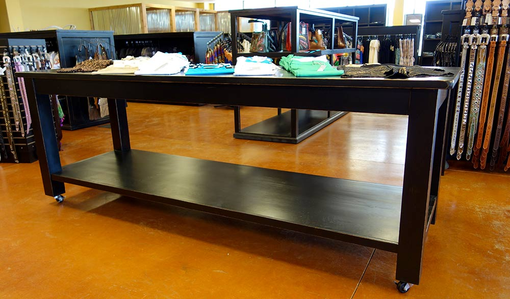 Ranch Rack Large Rolling Display Table for Wester Wear, Shirts and Jeans