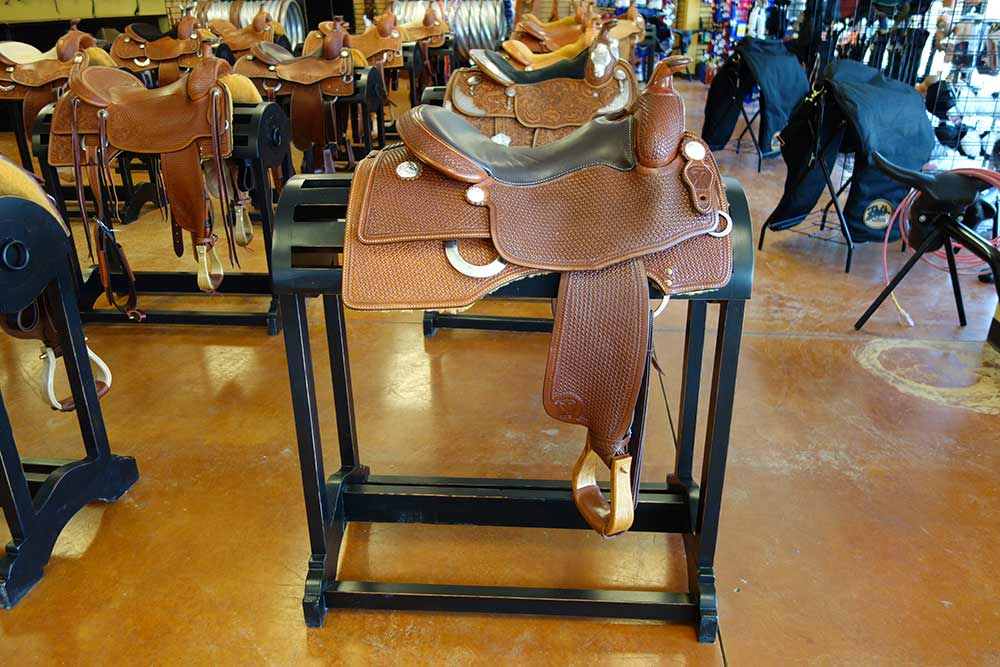 Ranch Rack Laredo Saddle Racks in colors and finishes to compliment your store