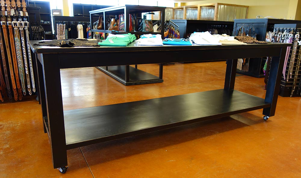 Ranch Rack Large Rolling Display Table on Wheels in rubbed-back black finish