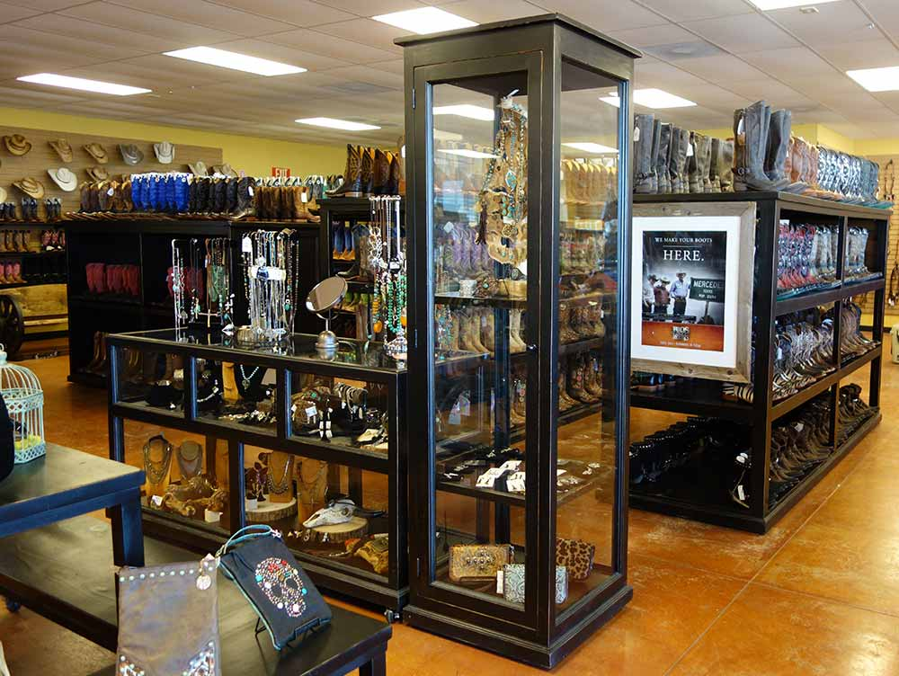 Ranch Rack Tall Glass Cabinet in solid wood with hand-rubbed black finish