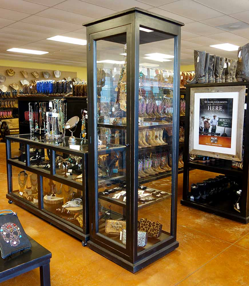 Ranch Rack Tall Glass Display Cabinet on Wheels for Western Wear, Botts and Saddles, Cowboy Hats, Shirts and Jeans, Clothing, Horse Tack and Rodeo Accessories