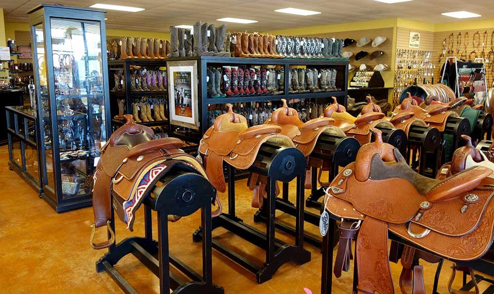 Ranch Rack Glass Showcase Cabinets, Boots and Saddle Racks